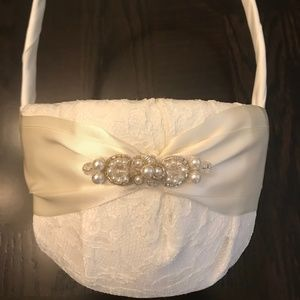 Flower Girl Basket with Lace Detail